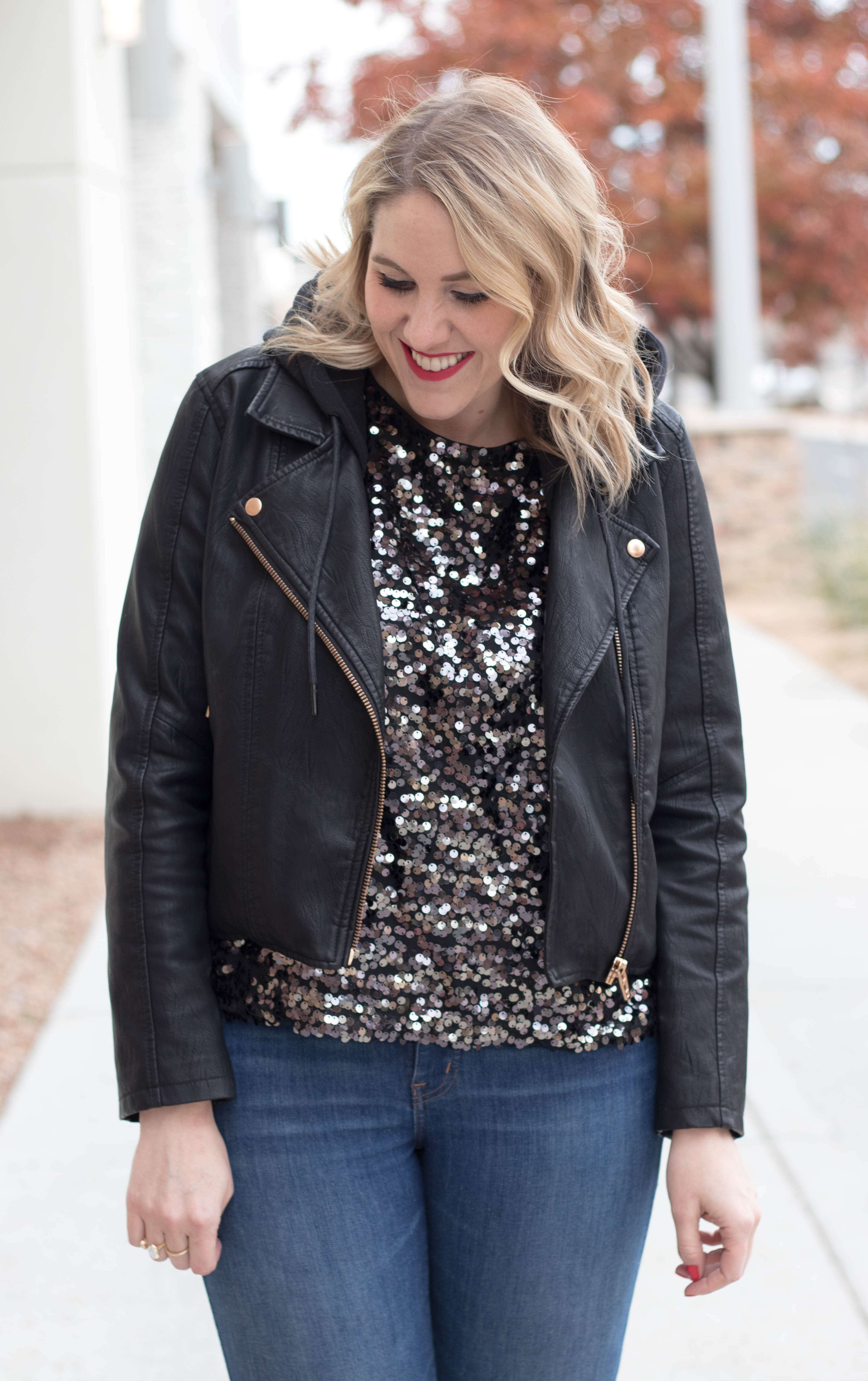 sequin top leather hooded jacket outfit #sequins #holidaystyle #sequintop