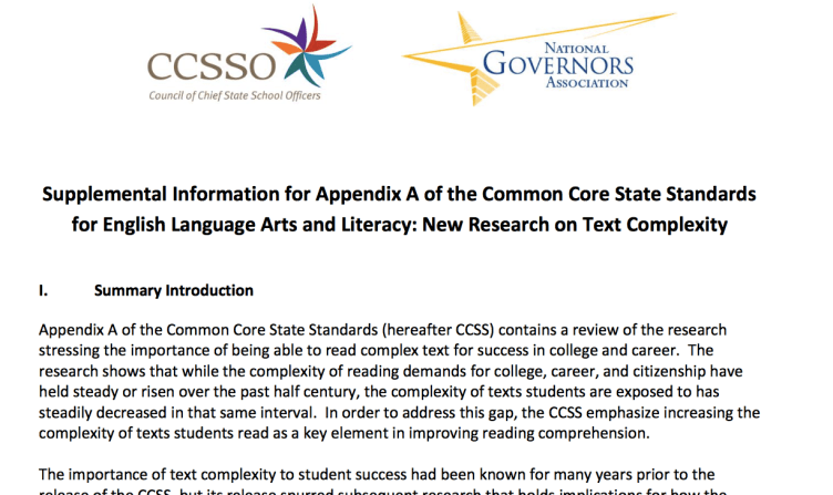 10-Page Supplement to Appendix A of Common Core Explaining Text Complexity >> Link to Document: http://bit.ly/1TcFlSU