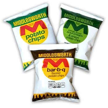 middleswarth potato chips lunch sized bags .875 ounce
