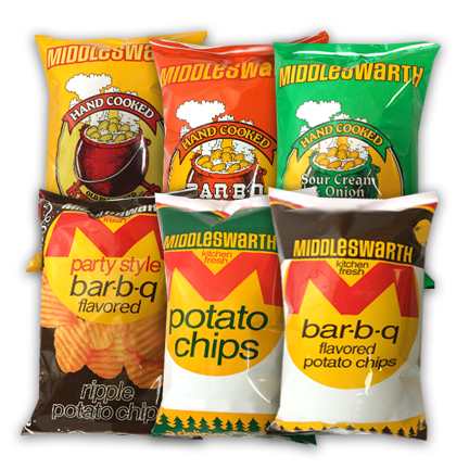 Middleswarth 4 point 5 ounce potato chips