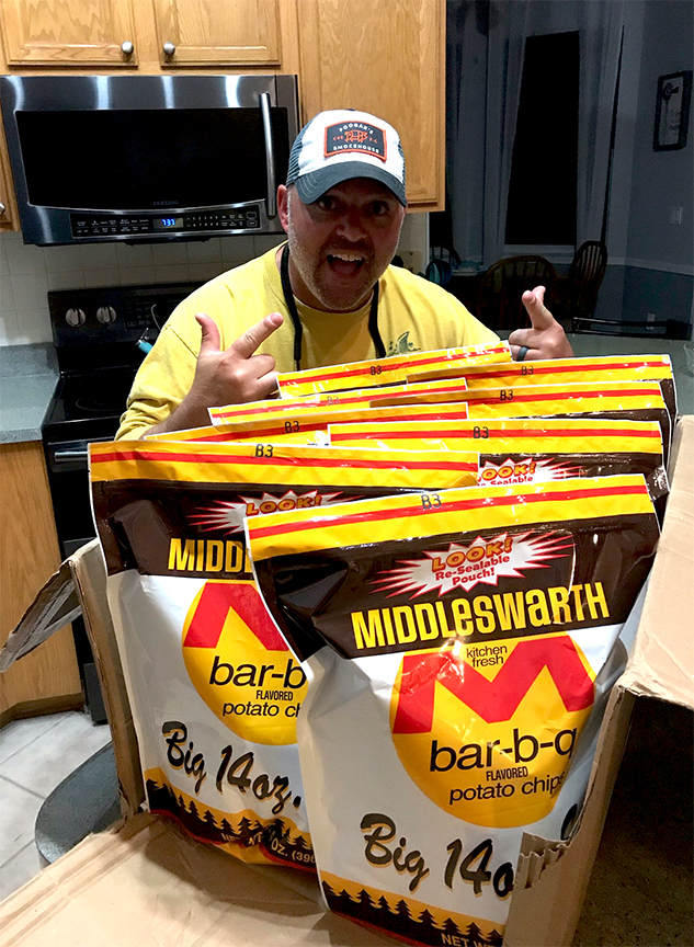 Steve Nader is excited to receive his Middleswarth potato chips