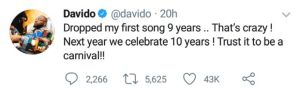 Davido Reveals Future Plan For Music Industry After Releasing His First Song 9 Years Ago