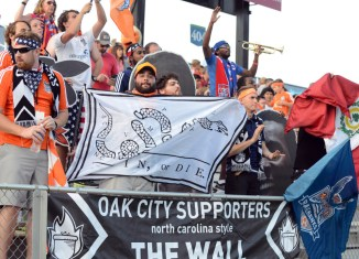 Railhawks's Oak City Supporters during their game versus Minnesota United FC (Photo: Rob Kinnan-Carolina RailHawks)