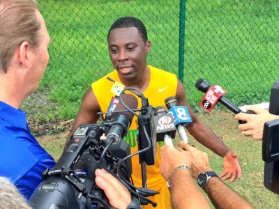 Feddy Adu talks to media at Rowdies training (Photo: Tampa Bay Rowdies)