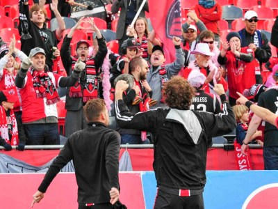 Fury players celebrate in front of the stands at TD Place (Photo: Ottawa Fury)