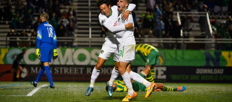 Walter Restrepo and Sebastian Guenzatti celebrate the second goal (Photo: New York Cosmos)