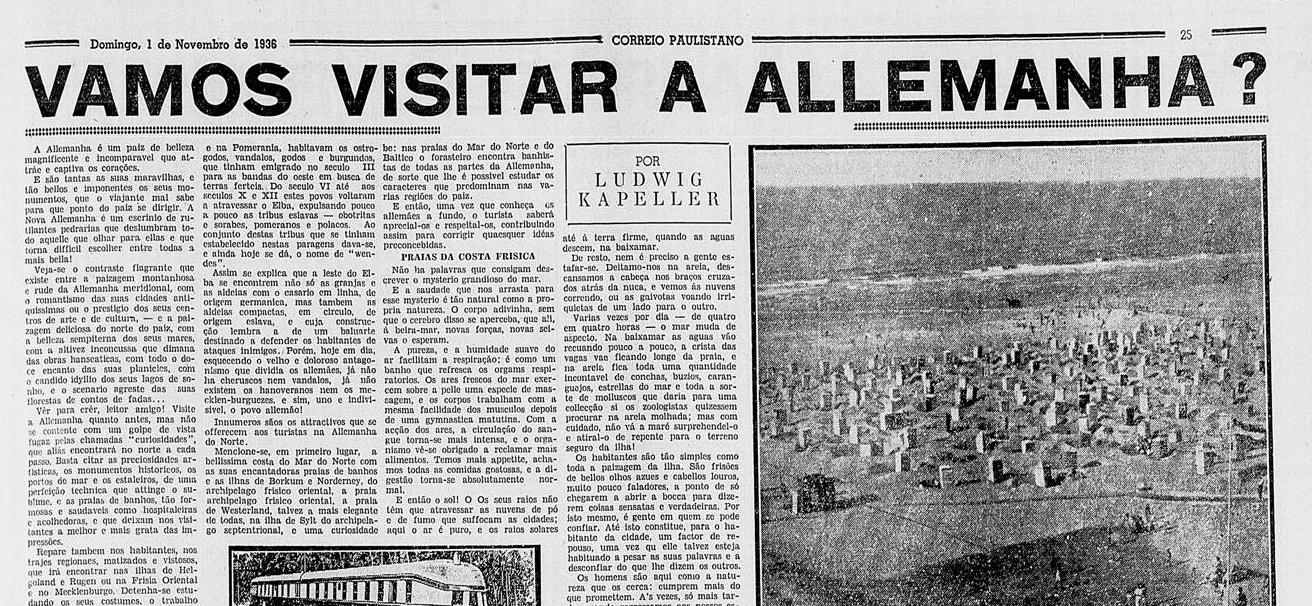 Artigo de página inteira do jornal Correio Paulistano, no dia 1o de novembro de 1936, registra os antepassados dos pomeranos. Imagem: reprodução