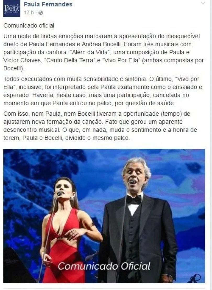 andreapaula - Por que Paula Fernandes travou no dueto com Andrea Bocelli?