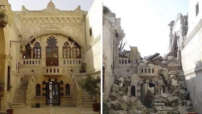 siria5 - Locais da Síria em Aleppo antes e depois da guerra