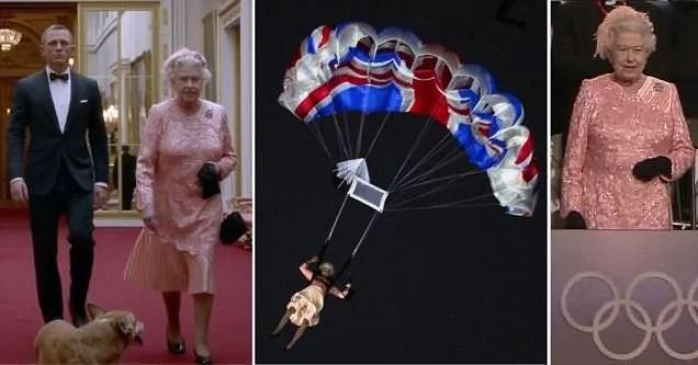 Fotos, Curiosidades, Comunicação, Jornalismo, Marketing, Propaganda, Mídia Interessante duble-4 Olímpidas Londres 2012: James Bond acompanha Rainha Elizabete ao salto Cotidiano Televisão  Olímpidas Londres 2012: James Bond acompanhava Rainha Elizabete ao salto de paraquedas