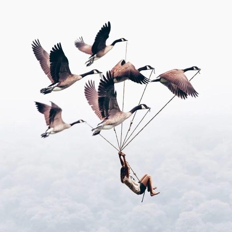 fotoobjetos inesperados para criar arte surreal - Menina usa edição no Photoshop para fazer imagens surreais