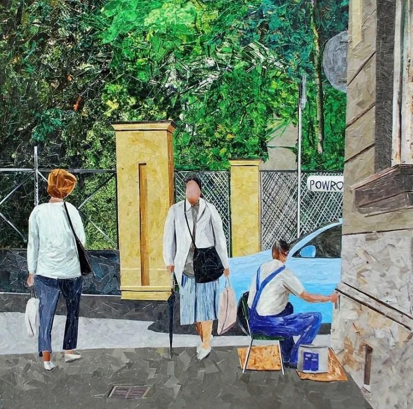 Paisagens urbanas que parecem pinturas a óleo que eu crio usando apenas papel e cola13 - Artista polonês usa papel e cola em quadros que parecem a tinta a óleo