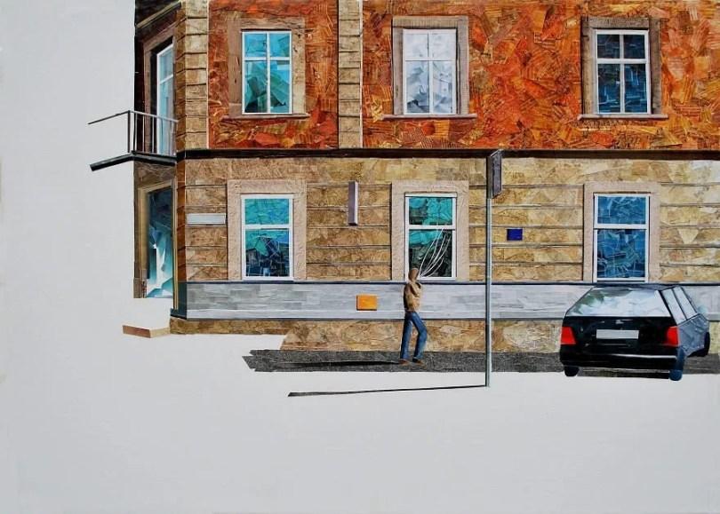 Paisagens urbanas que parecem pinturas a óleo que eu crio usando apenas papel e cola17 - Artista polonês usa papel e cola em quadros que parecem a tinta a óleo
