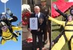 homem masi velho a pular de paraquedas - Homem mais velho do mundo a pular de paraquedas