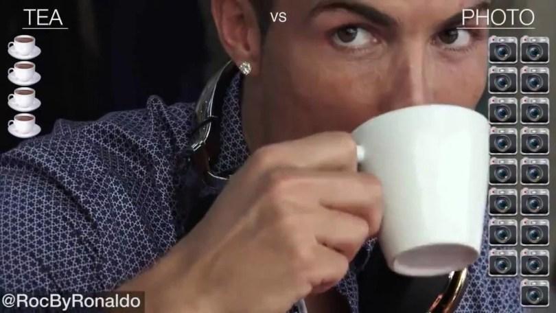 ronaldo selfie e café coffe - Vídeo: Cristiano Ronaldo em 2016 quando sai para tomar café