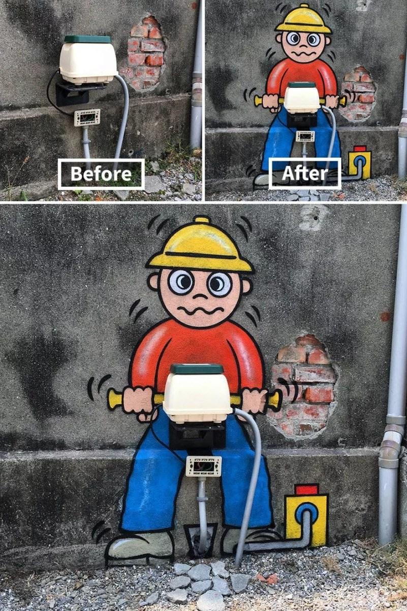 pintando as coisas 09 - Artista transforma lugares despercebidos em desenhos