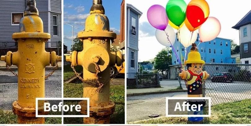 pintar hidrante - Artista transforma lugares despercebidos em desenhos