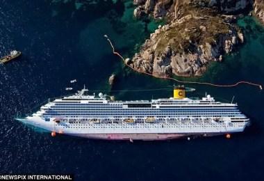 Costa Concordia by newspix international - Primeiras imagens do Costa Concordia depois de ser resgatado em 2014