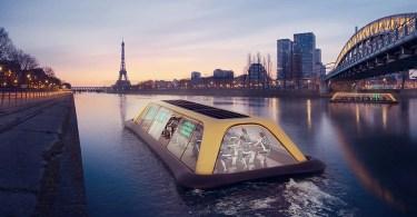 Ginásio Flutuante Em Paris Alimentado Por Seus Visitantes - Dispositivo em bicicleta mostra sinais luminosos nas costas do ciclista