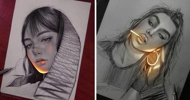 tecnica unica - Técnica única deste artista faz parecer que seus desenhos estão brilhando