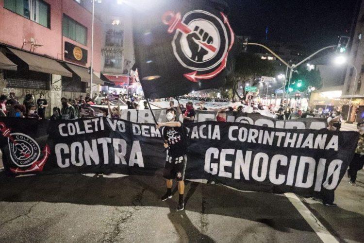Democracia Corinthiana no ato em São Paulo. Foto: Mídia NINJA