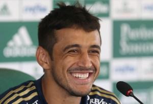 Robinho em entrevista coletiva nesta quarta-feira 25/02. Créditos: Cesar Greco/Ag Palmeiras/Divulgação