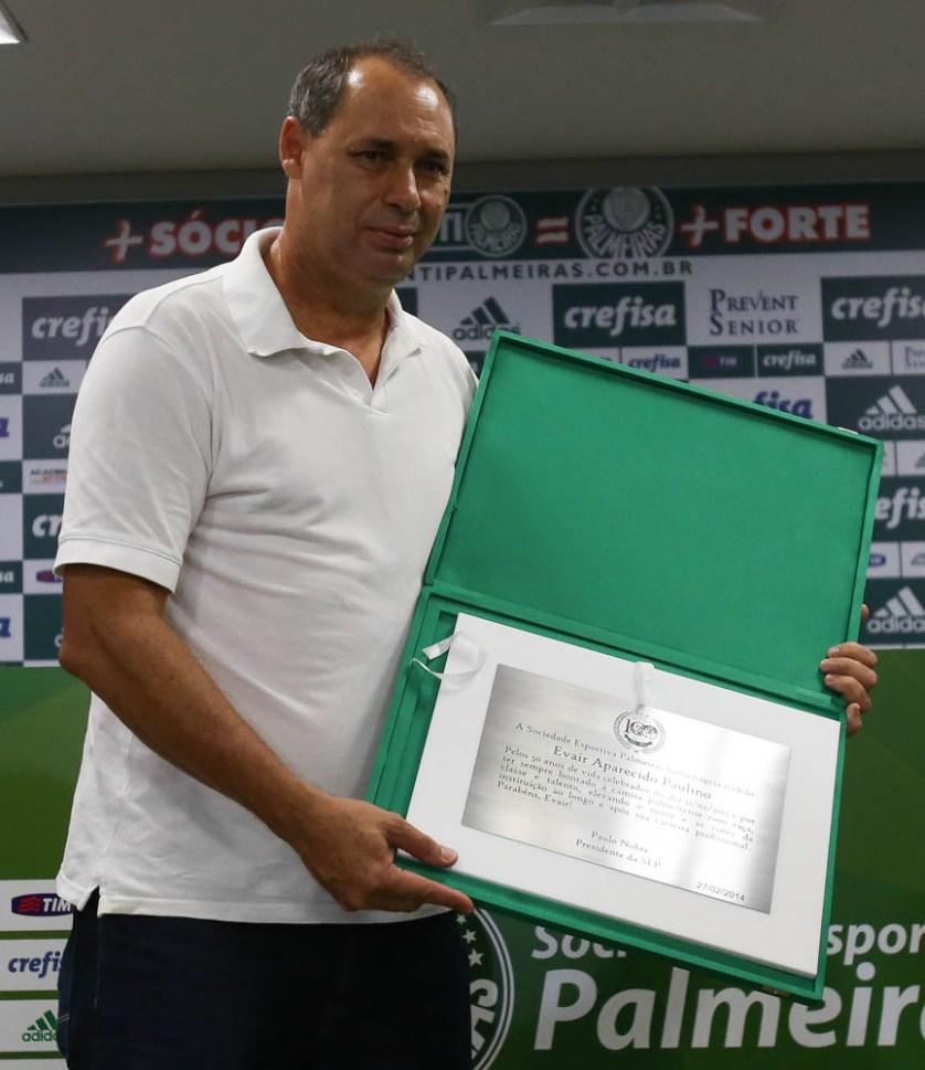 Evair, recebe homenagem em comemoração aos seu 50 anos. Cesar Greco/Ag. Palmeiras/Divulgação