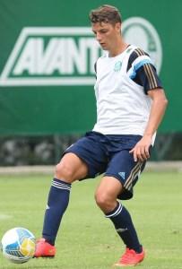 Andrei Girotto entou no segundo tempo do jogo-treino e quase fez o gol que daria a vitória para o Verdão (Cesar Greco/Ag.Palmeiras/Divulgação)