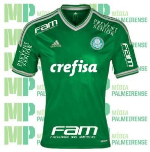 Montagem do possível uniforme de jogo do Palmeiras em 2015. (Imagem: Mídia Palmeirense)