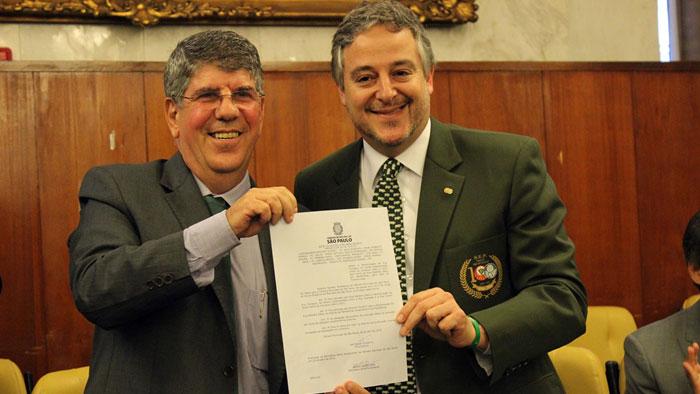 O presidente Paulo Nobre, que representou o Verdão na Câmara Municipal. (Fabio Menotti/Ag. Palmeiras/Divulgação)