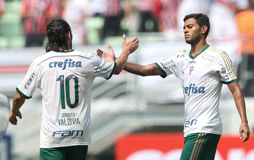 Cleiton Xavier acredita em parceria com Valdivia no Palmeiras. (Cesar Greco/Ag. Palmeiras/Divulgação)