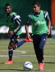 Ainda à espera de liminar, Dudu treinou com o restante do elenco. (Cesar Greco/Ag. Palmeiras/Divulgação)