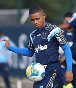Gabriel Jesus atuou na equipe titular no treinamento de hoje. (Cesar Greco/Ag. Palmeiras/Divulgação)