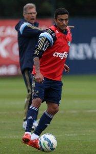 Cleiton Xavier participou das atividades desta terça-feira, acompanhado de perto por Oswaldo de Oliveira. (Cesar Greco/Ag. Palmeiras/Divulgação)