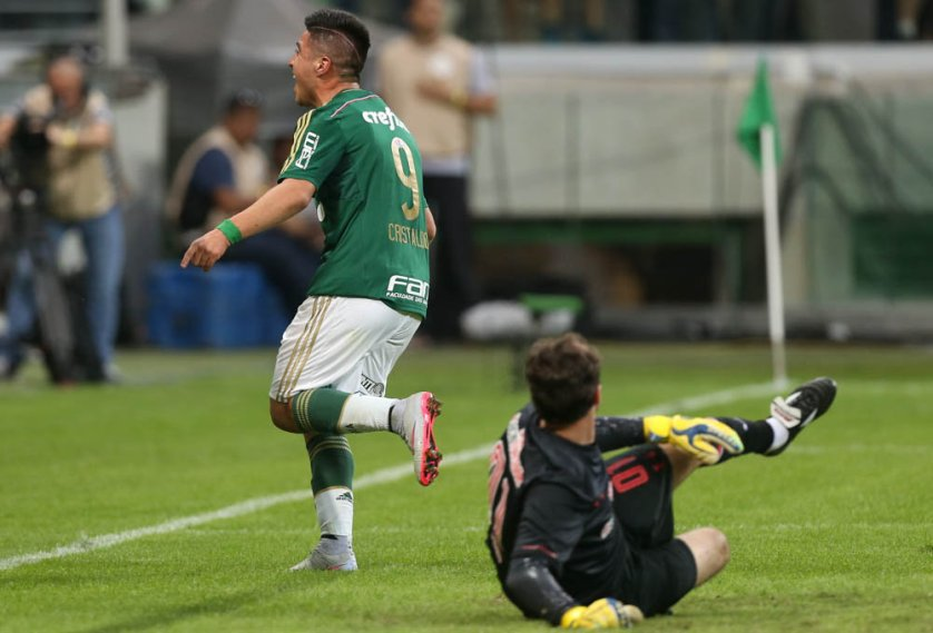 Cristaldo marcou o 4º gol fechando a goleada alviverde. (Cesar Greco/Ag. Palmeiras/Divulgação)