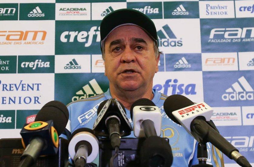 Marcelo Oliveira concedeu entrevista coletiva nesta sexta (26) em Atibaia. (Cesar Greco/Ag. Palmeiras/Divulgação)