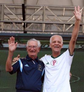 Dudu e Ademir da Guia, na companhia do ex-goleiro Marcos, visitarão lojas oficiais do clube. (Fabio Menotti/Ag. Palmeiras/Divulgação)