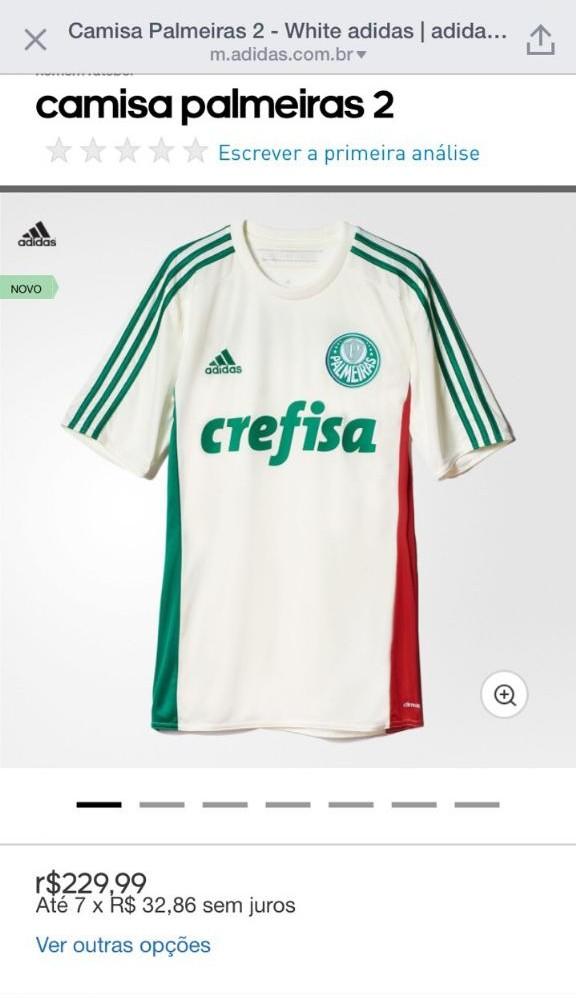 Nova camisa 2 do Palmeiras no site da Adidas. (Mídia Palmeirense)