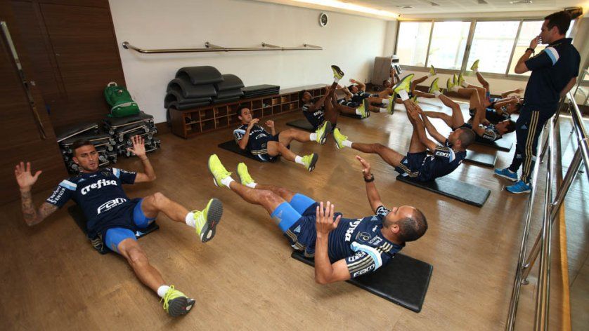 Titulares fizeram trabalho físico em academia de Belo Horizonte. (Cesar Greco/Ag.Palmeiras/Divulgação)