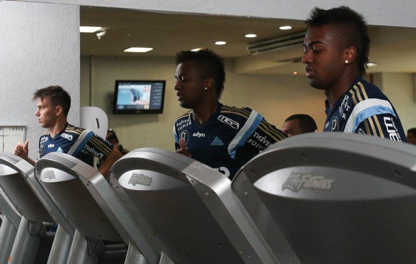 Os reservas fizeram treino na academia por mais de uma hora. (Cesar Greco/Ag. Palmeiras/Divulgação)
