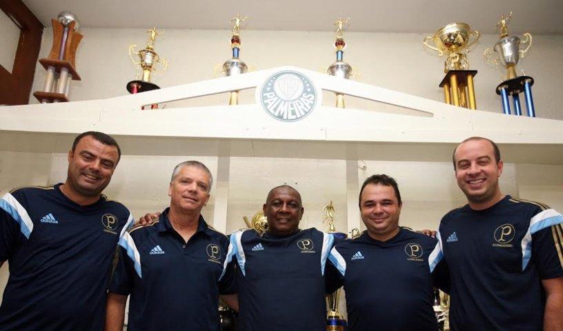 Marcão, Fischer, Jorge, Ricardo e Douglas formam novo departamento de captação. (Fabio Menotti/Ag.Palmeiras/Divulgação)