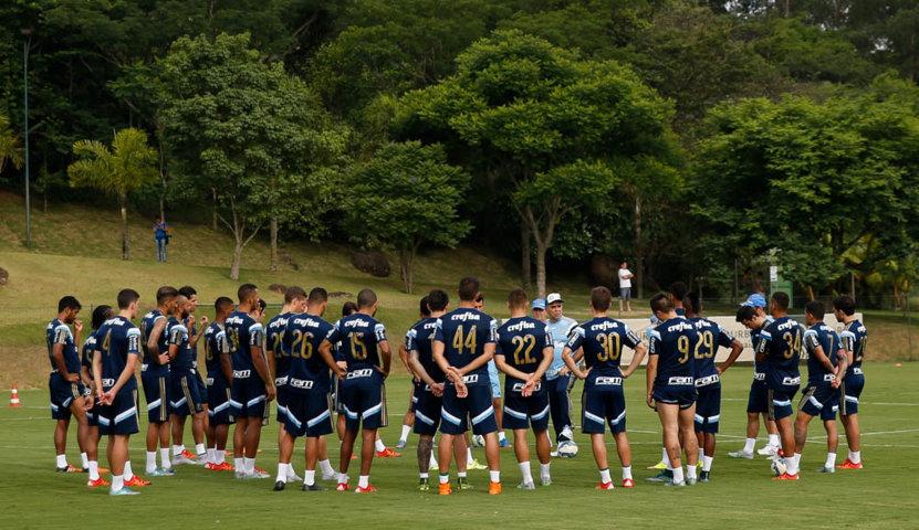 O treino deste sábado durou duas horas. (Cesar Greco/Ag. Palmeiras/Divulgação)
