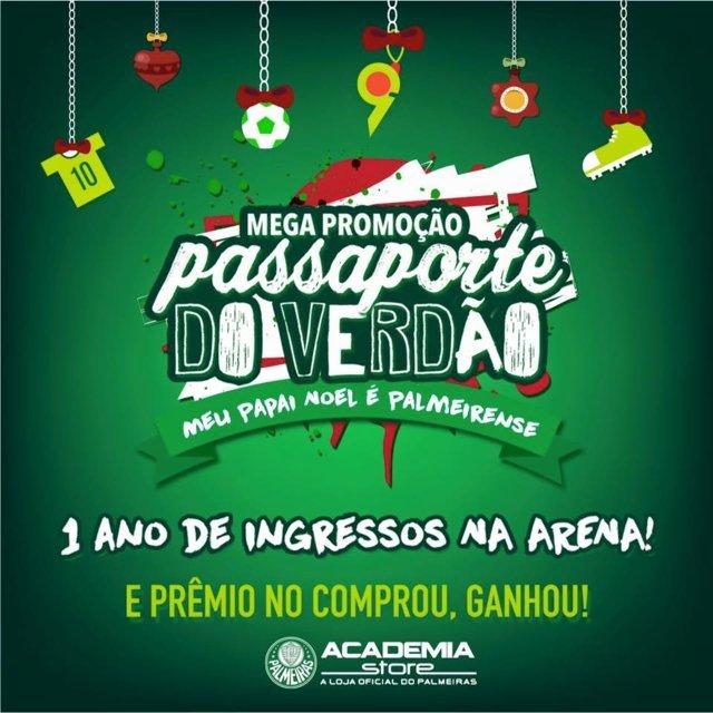 Academia Store sorteia passaporte para todos os jogos do Palmeiras no Allianz em 2016. (Divulgação)