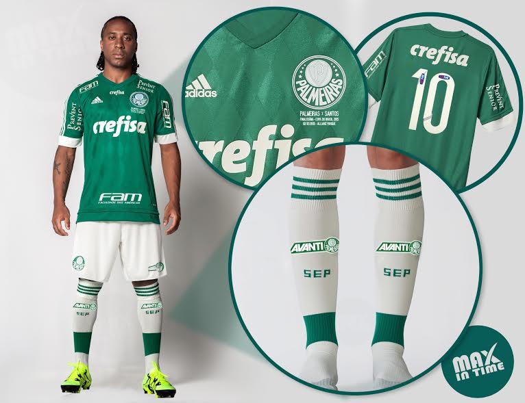 O Palmeiras usará camisa verde, calção branco e meias brancas na grande decisão. (Divulgação)