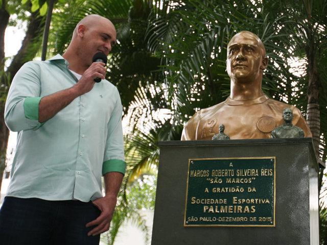 Marcos é o quinto atleta na história a receber um busto no Palestra Italia. (Fabio Menotti/Ag. Palmeiras/Divulgação)
