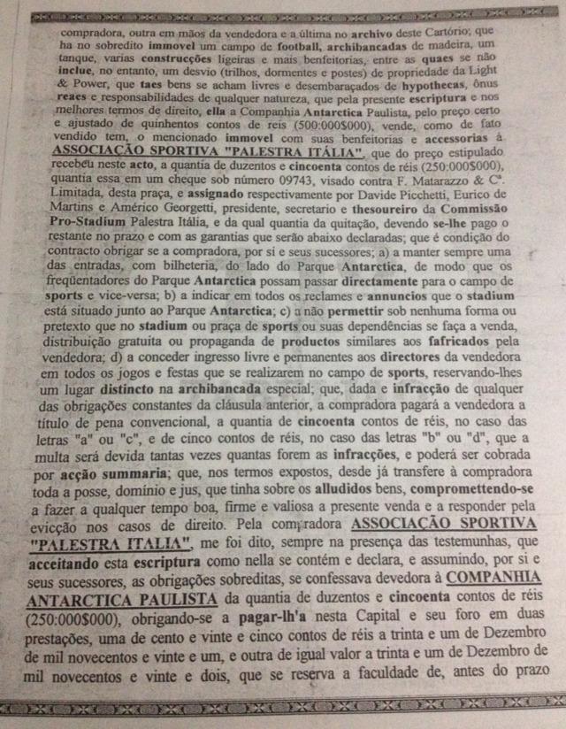 Cópia original da Escritura de Venda e Compra do Estádio Palestra Itália. (Fernando Gallupo/Blog Fernando Gallupo/Reprodução)