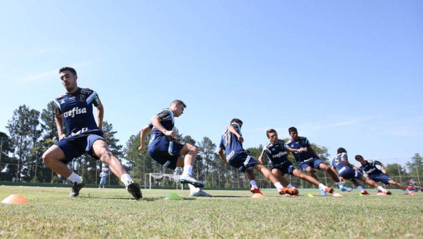 No primeiro dia de atividades em Itu-SP, o elenco realizou um teste de resistência no gramado. (Cesar Greco/Ag. Palmeiras/Divulgação)