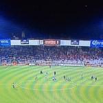 Patrocínios da cervejaria Corona aparecem durante transmissão da partida do Toluca. (Reprodução/FoxSports)