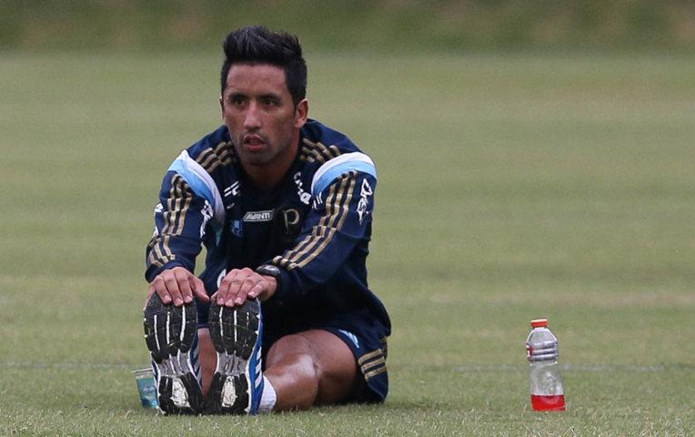 Atacante Lucas Barrios segue em trabalho de transição física. (Cesar Greco/Ag.Palmeiras/Divulgação)
