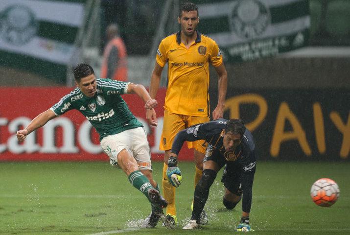 Argentino Cristaldo foi titular e anotou o primeiro do Verdão. (Cesar Greco/Ag.Palmeiras/Divulgação)